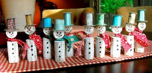 Wine cork christmas snowmen