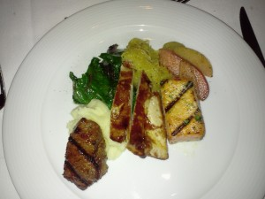Winter Trio of Bison Rib-Eye, Chicken and King Salmon